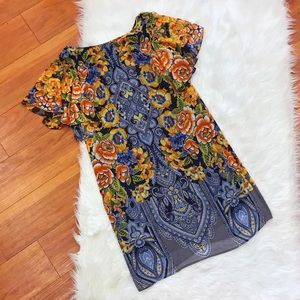 AGB Blue Floral Ruffle Sleeve Dress